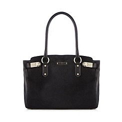 J by Jasper Conran - Designer black leather faux pony hair grab bag