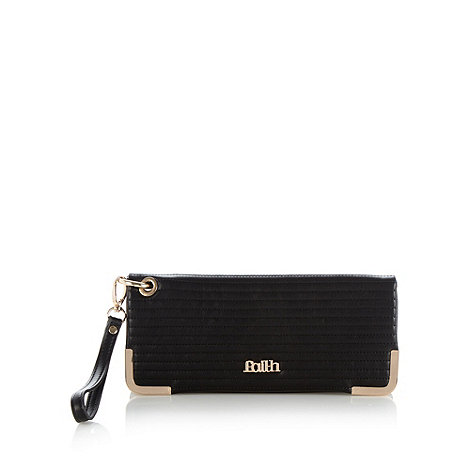 Faith - Black quilted fold over wrist strap clutch