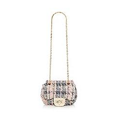 Red Herring - Pink tweed effect mini shoulder bag