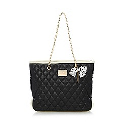 Red Herring - Black quilted bow charm tote bag