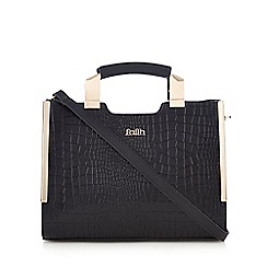 Faith - Black mock croc tab tote bag