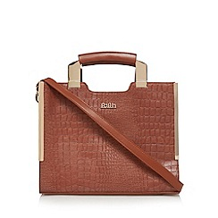 Faith - Tan croc effect metal handle tote bag