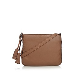 The Collection - Tan leather organiser cross body bag