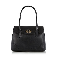 The Collection - Black leather twist lock shoulder bag
