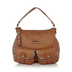 Mantaray - Tan ditsy trim hobo bag
