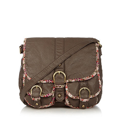 Mantaray - Brown washed ditsy trim satchel
