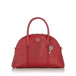 Bailey & Quinn - Red leather large mock croc dome bag