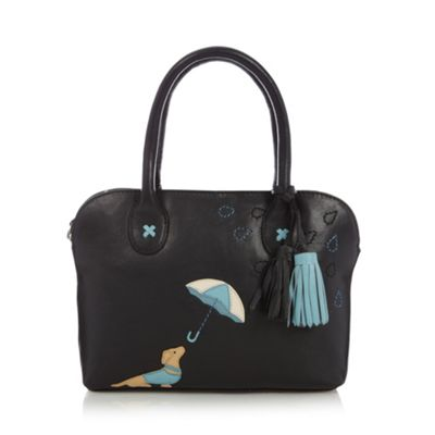 The Collection Black dog applique leather grab bag - One Size.  Size - One Size