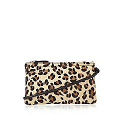 The Collection - Black leather leopard front cross body bag