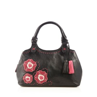 The Collection Black leather pansy grab bag - One Size.  Size - One Size