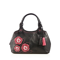 The Collection - Black leather pansy grab bag