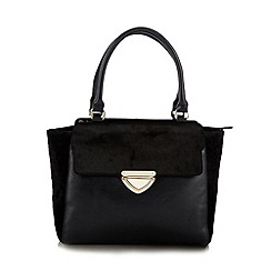 The Collection - Black leather pony hair tote bag
