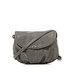 The Collection - Grey faux snakeskin pouch cross body bag