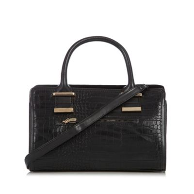 The Collection Black mixed croc and suede effect grab bag - One Size.  Size - One Size