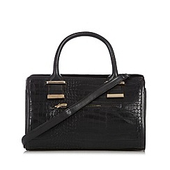 The Collection - Black mixed croc and suede effect grab bag
