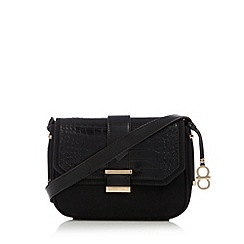 The Collection - Black mixed croc and suede effect cross body bag