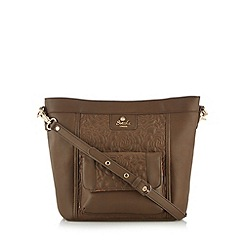 Sacha - Brown floral lined cross body bag