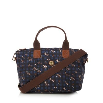 Nica Dark blue checked and floral grab bag - One Size.  Size - One Size