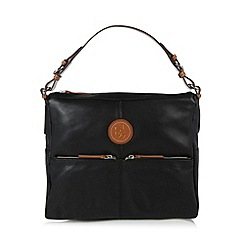 Principles by Ben de Lisi - Designer black leather double zip shoulder bag