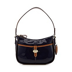 J by Jasper Conran - Designer navy patent tab front shoulder bag