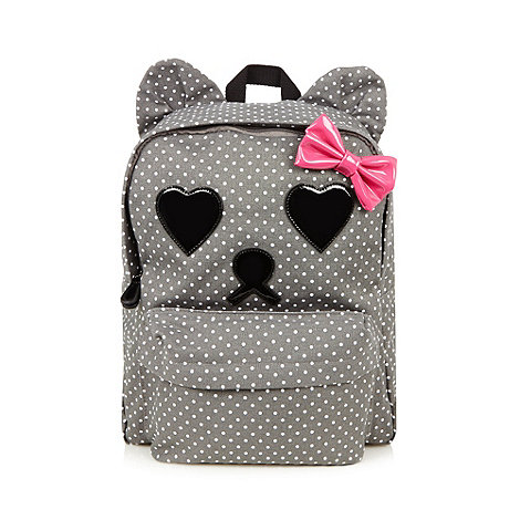 H! by Henry Holland - Designer grey spotted bear print backpack