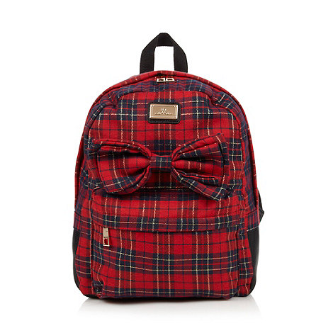 Red Herring - Red checked 3D bow backpack