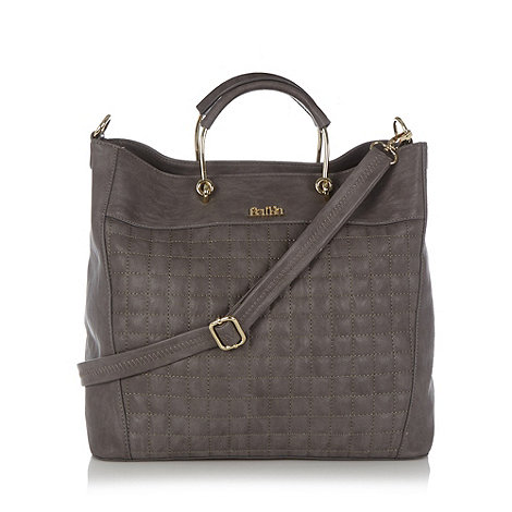 Faith - Grey quilted front tote bag