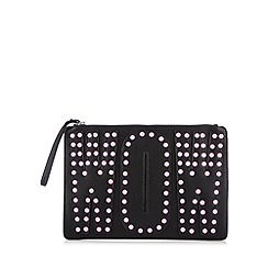 H! by Henry Holland - Designer black 'wow' stud clutch bag