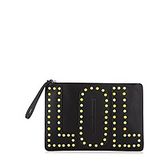 H! by Henry Holland - Designer black 'lol' stud clutch bag