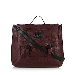 H! by Henry Holland - Designer maroon pebble grain satchel bag