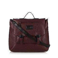 H! by Henry Holland - Designer maroon pebble grain satchel bag