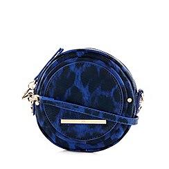 Red Herring - Blue leopard printed circle cross body bag