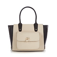 Red Herring - Cream colour block padlock winged tote bag
