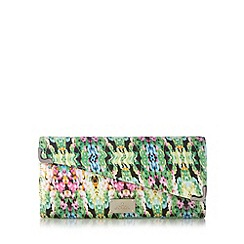 Red Herring - Green floral asymmetric clutch bag