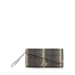 Red Herring - Black monochrome snake clutch bag