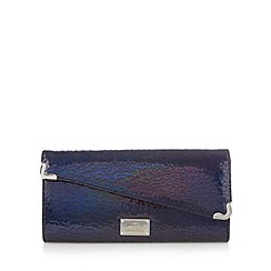 Red Herring - Black cracked shimmer asymmetric clutch bag