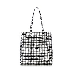 Red Herring - White checked shopper bag