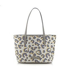 Red Herring - Light yellow leopard print shopper bag