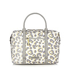 Red Herring - Light yellow leopard print weekender bag