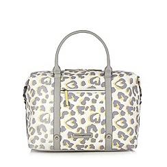 Red Herring - Light yellow leopard print weekender bag