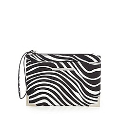 Red Herring - Black zebra print wristlet bag