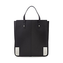Red Herring - Black structured metal corner tote bag