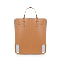 Red Herring - Tan structured metal corner tote bag