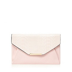 Red Herring - Light pink snakeskin envelope clutch bag