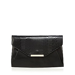 Red Herring - Black snakeskin envelope clutch bag
