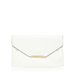 Red Herring - White snakeskin envelope clutch bag