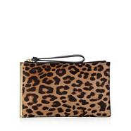Taupe leopard print leather pony hair wristlet clutch bag