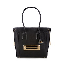 Faith - Black front zip winged tote bag