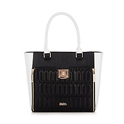 Faith - Black quilted monochrome tote bag