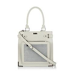 Faith - Pale grey printed crosshatch tote bag